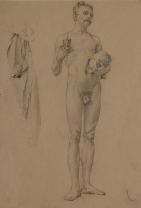 Study of Nude Male with Book